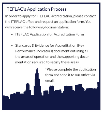Image block with text outlining the ITEFLAC TEFL accreditation process