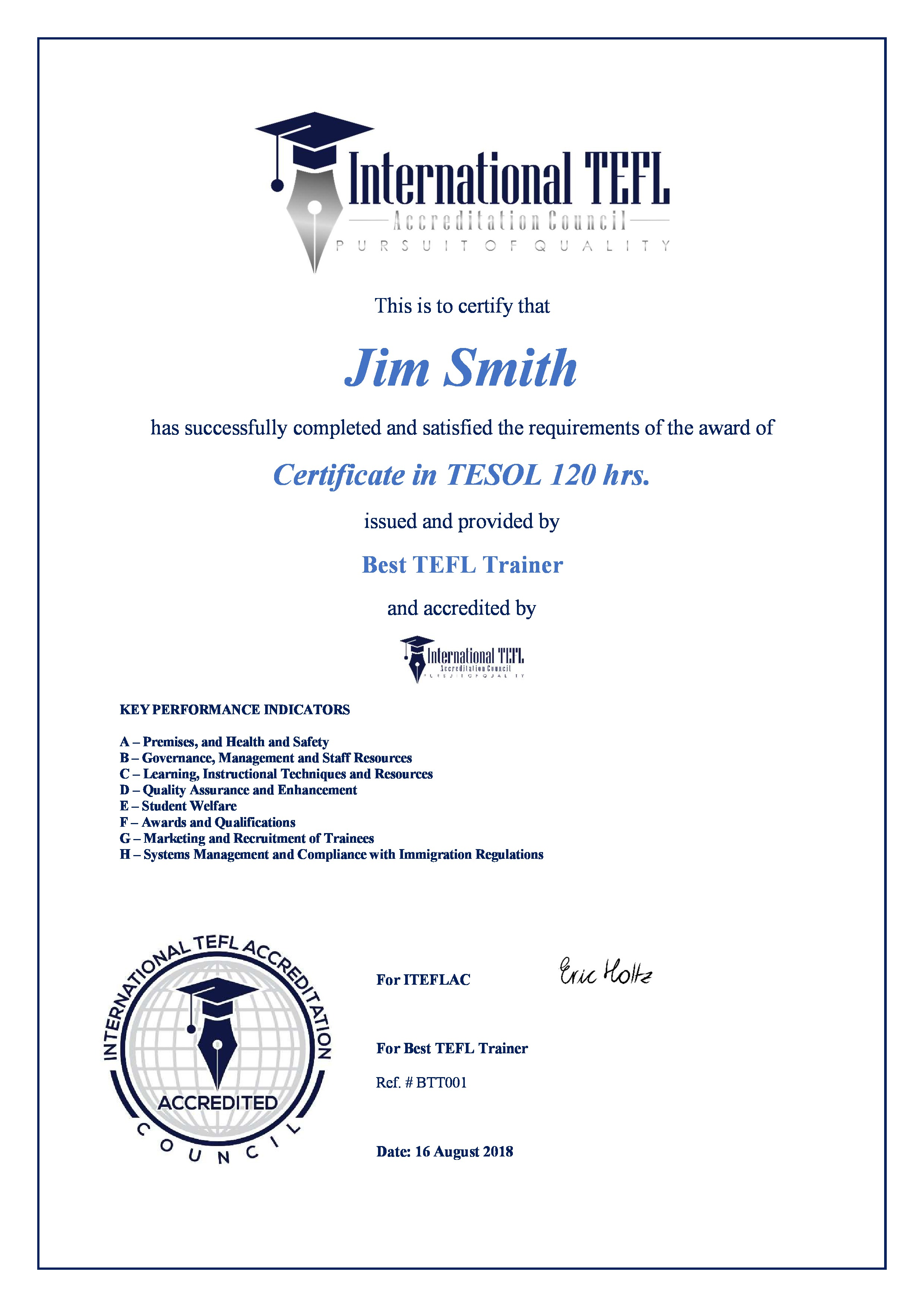 Iteflac Student Certificates Tefl Accreditation Iteflac